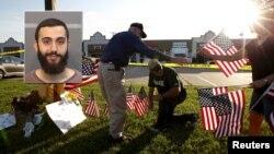Ciudadanos colocan banderas en un monumento en frente del centro de reclutamiento de las Fuerzas Armadas en Chattanooga. Inserta, la foto del atacante, Mohamed Youssef Abdulazeez.