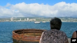 Vista del lugar donde se hundió el USS Arizona en Pearl Harbor, Hawaii, en la Segunda Guerra Mundial.