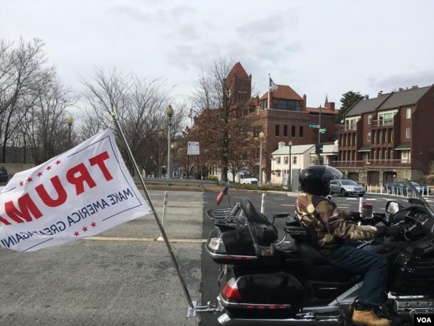 The bikers rode through Washington's Georgetown neighborhood, then turned around and retraced their path to Virginia, Jan. 19, 2017. (J. Fatzick/VOA)