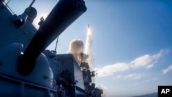 Запуск крилатої ракети з російського корабля у Середземному морі