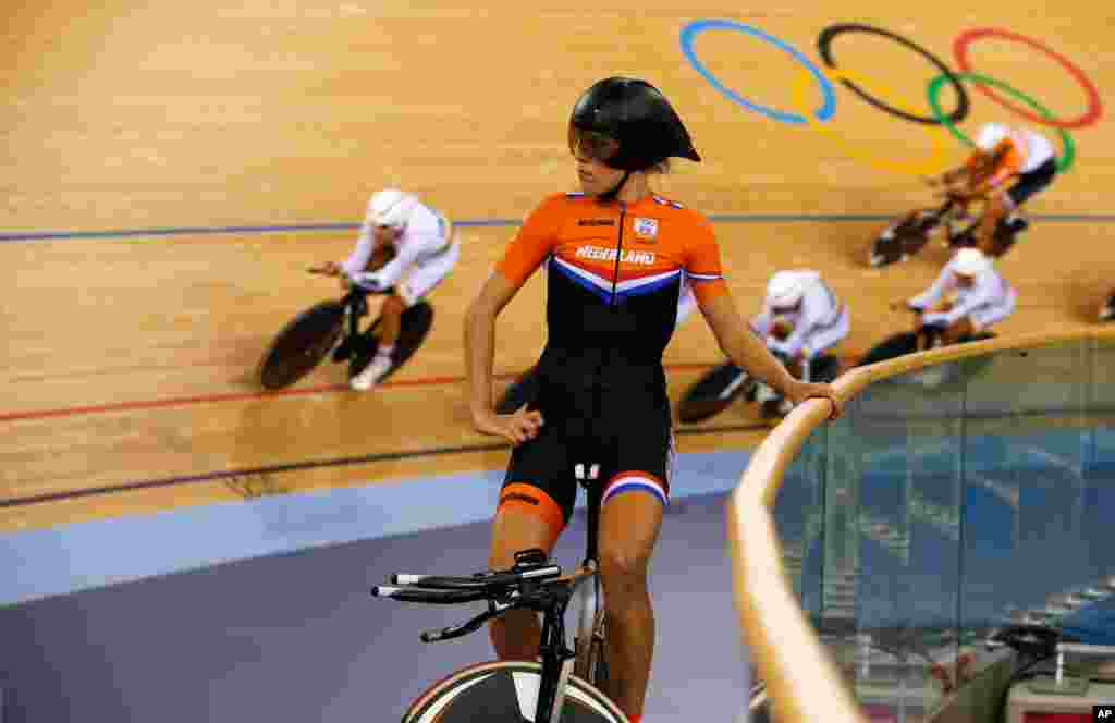 Netherlands' Ellen van Dijk takes a look around at the track cycling events at the Velodrome.