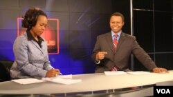 VOA In Focus hosts Ndimyake Mwakalyelye and Vincent Makori (right) get ready for their show. In Focus is a 30-minute magazine program that brings information about Africa, the United States, and the world to viewers across Africa.