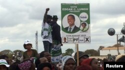 FILE - Supporters of Edgar Lungu, leader of the Patriotic Front party (PF), gather during a rally in the capital, Lusaka, Zambia, Aug. 10, 2016.
