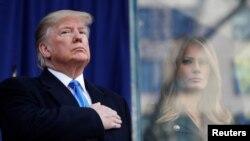 도널드 트럼프 미국 대통령과 멜라니아 여사가 11일 뉴욕에서 열린 '재향군인의 날' 퍼레이드에 참석했다.