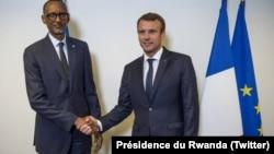 Les présidents français et rwandais Emmanuel Macron et Paul Kagame se sont entretenus à New York, le 18 septembre 2017.