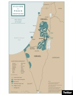 """President Trump tweeted this map on Jan. 28, 2020, illustrating his Middle East peace plan, saying, """"This is what a future State of Palestine can look like, with a capital in parts of East Jerusalem."""""""
