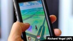 Tampilan permainan Pokemon Go di layar ponsel.