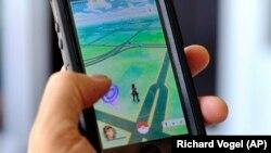在手机上显示的 Pokemon Go