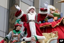 The date of Thanksgiving was set to permit shoppers an extra week of holiday shopping. Here, Macy's Thanksgiving Day Parade (here in New York, 2014) ends with Santa Claus.