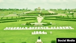 Signage for the Nigerian Defence Academy is seen in Kuduna, Nigeria, in a photo from the academy's Facebook page.