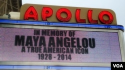 The Apollo Theater marquee in Harlem paid tribute to Maya Angelou. (Adam Phillips/ VOA)