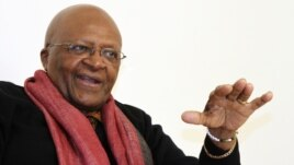 South African Archbishop and Nobel Laureate Desmond Tutu speaks during an interview with Reuters in New Delhi February 8, 2012.