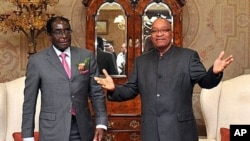 South African President Jacob Zuma (R) poses with Zimbabwe President Robert Mugabe before talks, in Pretoria, June 10, 2011