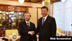 Ông Trần Quốc Vượng và ông Tập Cận Bình, ngày 20/8/2018. (Photo Vnews.gov.vn)