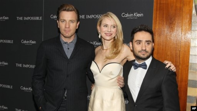 "Ewan McGregor left, Naomi Watts and J.A. Bayona last month at the screening of ""The Impossible"" in New York City"