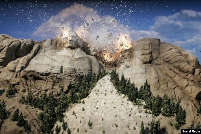 Amerikan yerlilerinin Facebook sayfalarında paylaşılan bu kare Trump'ın Rushmore Dağı ziyaretine tepkiyi yansıtıyor.