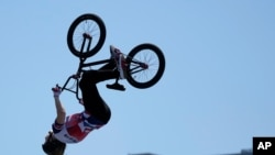 Charlotte Worthington of Britain competes in the women's BMX freestyle final at the 2020 Summer Olympics, Aug. 1, 2021, in Tokyo, Japan.