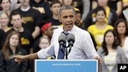 Presiden AS Barack Obama dalam sebuah acara di University of Iowa. (Foto: Dok)