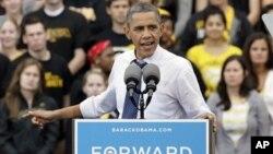 미국 아이오와 주에서 선거유세를 벌이는 바락 오바마 미 대통령