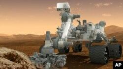 Gambar ilustrasi kendaraan penjelajah milik NASA, Curiosity.