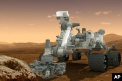 This drawing shows the Curiosity rover on the surface of Mars.