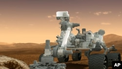 Kendaraan penjelajah luar angkasa NASA, Curiosity Rover, di atas permukaan Mars. (Foto: Dok)