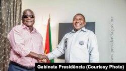 Afonso Dhlakama e Filipe Nyusi encontraram-se em Fevereiro de 2015.