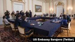 Bosnia and Herzegovina -- US ambassador to Bosnia Eric Nelson and Matthew A. Palmer, Deputy Assistant Secretary Bureau of European and Eurasian Affairs, with members of Bosnian Presidency, in Sarajevo, September 9, 2020.