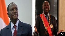 Both challenger Alassane Ouattara (l) and President Laurent Gbagbo (r) claimed victory in Ivory Coast presidential run-off vote.