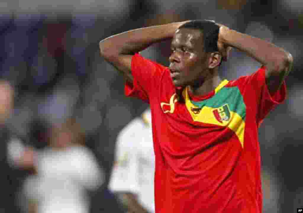 Guinea's Traore Ibrahima reacts during their African Cup of Nations Group D soccer match against Ghana at the Franceville stadium February 1, 2012.