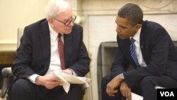 El multimillonario Warren Buffett con el presidente Barack Obama en la Casa Blanca.