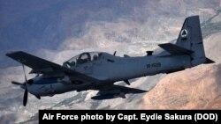 Un avion d'attaque au sol Super Tucano A-29 lors d'une opération en Afghanistan, 8 avril 2016.