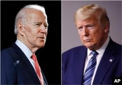 Joe Biden (kiri) dan Donald Trump, menjelang Pemilihan Presidan AS 2020. (Foto: dok)