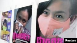 Những tấm poster cảnh báo về dịch cúm gà được trưng bày tại Bộ Y tế Campuchia ở Phnom Penh. REUTERS/Chor Sokunthea - RTR1C95R