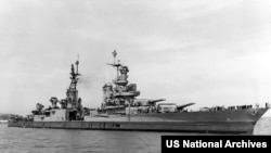The U.S. Navy heavy cruiser USS Indianapolis off the Mare Island Naval Shipyard, California (USA), on 10 July 1945.