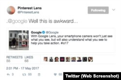 Pinterest Google Lens Tweet