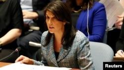 Ambasadorka SAD u UN-u, Niki Hejli u sedištu svetske organizacije u Njujorku, 12. mart 2018. REUTERS/Mike Segar