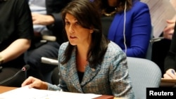 FILE - US Ambassador to the United Nations Nikki Haley addresses the U.N. Security Council on Syria during a meeting of the Council at U.N. headquarters in New York, March 12, 2018.