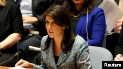 "FILE - U.S. Ambassador to the United Nations Nikki Haley addresses the U.N. Security Council at U.N. headquarters in New York, March 12, 2018. She said on Sept. 5, 2018, that the council could not remain a ""passive observer"" as Nicaragua continued to deteriorate."