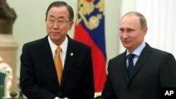 星期四潘基文在莫斯科會晤了俄羅斯總統普京