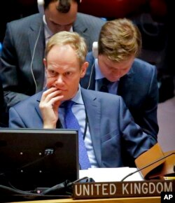 United Kingdom U.N. Ambassador Matthew Rycroft takes part in a Security Council debate on the Middle East conflict, Jan. 17, 2017, at U.N. headquarters.