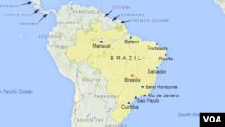 Sao Paulo, Rio de Janeiro, Salvador, Fortaleza, Belo Horizonte, Brasilia, Curitiba, Manaus, Recife, et Belem, Bresil