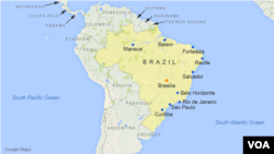 Peta wilayah Brazil, dengan letak kota Sao Paulo, Rio de Janeiro, Salvador, Fortaleza, Belo Horizonte, Brasilia, Curitiba, Manaus, Recife, dan Belem.