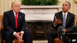 President Barack Obama meets with President-elect Donald Trump in the Oval Office of the White House in Washington, Nov. 10, 2016. Speaking in Lima, Obama said the job of president will force Trump to adjust on how he approaches the issues.