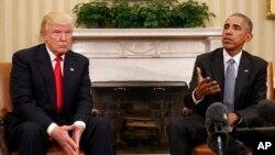 Presiden AS Barack Obama bertemu Presiden terpilih Donald Trump di Gedung Putih (10/11). (AP/Pablo Martinez Monsivais)