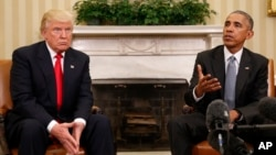 President Barack Obama meets with President-elect Donald Trump in the Oval Office of the White House in Washington, Nov. 10, 2016. Trump reportedly signalled after the meeting that he might reconsider his call for a total repeal of Obamacare.