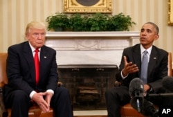 President Barack Obama meets with President-elect Donald Trump in the Oval Office at the White House, Nov. 10, 2016.