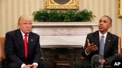 ប្រធានាធិបតីជាប់ឆ្នោត លោក Donald Trump បានជួបជាមួយលោក Barack Obama ដើម្បីពិភាក្សានៅសេតវិមាន។