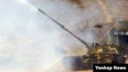 연평도 포격 4주기를 이틀 앞둔 21일 한국 인천 옹진군 연평도 군 부대에서 서북도서 해상사격훈련이 진행되고 있다.