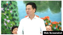 Bộ trưởng Thông tin và Truyền thông Nguyễn Mạnh Hùng phát biểu ở Quốc hội hôm 15/8/2019. Photo VTV.